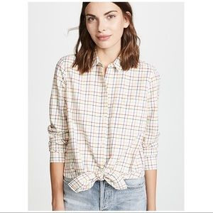 Madewell • Rainbow Plaid Tie Front Shirt Sz L